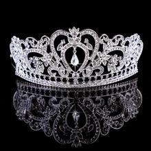 TUANMING Crystal Heart Tiara Crown Silver Headband Rhinestone Hairband Bride Hair Accessories For Women Wedding Hair
