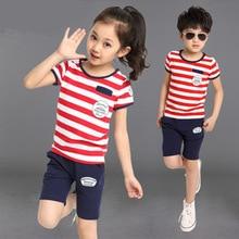 Девочек и мальчиков полосатый одежда комплект лето 2 шт. / мужской детская одежда костюм с коротким рукавом футболка + шорты