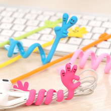 Lovely Classic Finger Bending Strip Earphone Cable Wire Cord Organizer Holder Winder For iphone samsung Headphone Wire Storage
