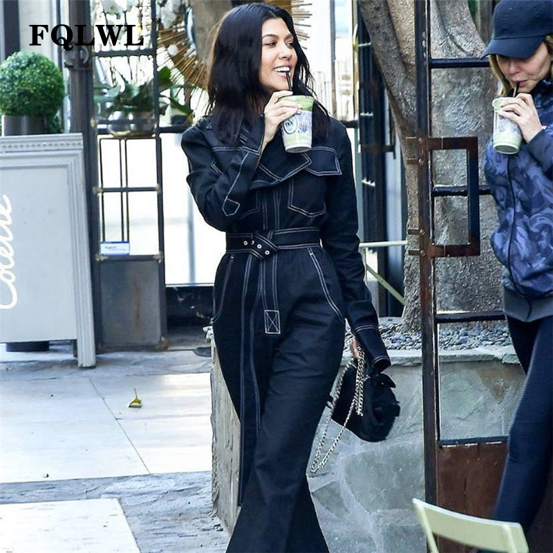 FQLWL Sexy mono Denim mujeres mameluco de manga larga negro/blanco invierno otoño Jeans mono hembra 2018 Streetwear mono