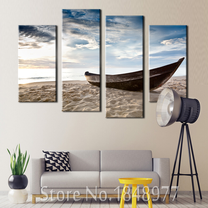 4 paneles moderno mar playa barco pintura al óleo sobre lienzo Wall ...