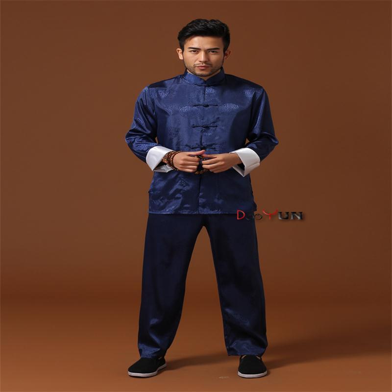 Remise bleu chinois hommes Kung fu uniforme soie Satin Tai Chi Wu Shu costume Vintage bouton vêtements M L XL XXL XXXL