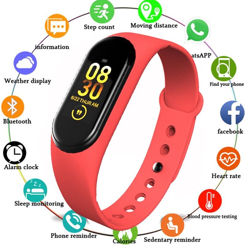 Esporte de Fitness Rastreador M4 Pulseira de Calorias Monitor de Freqüência Cardíaca Inteligente Banda Da Moda Relógio Inteligente para iOS