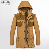 Uomo Giacca Militare cappotto di modo Utility Con Zip Giacca di pelliccia collare spessore caldo inverno giù cappotto lungo del cotone parka jacket