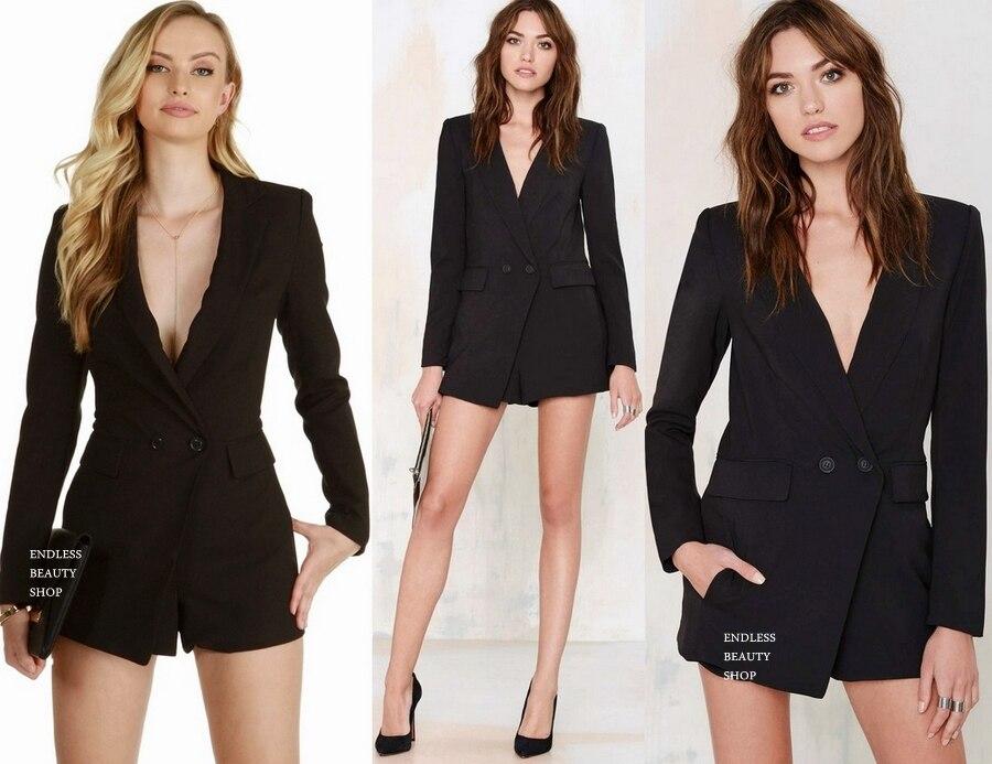 7cedd2b3bb4f Sexy Deep V Neck Notched Tuxedo Blazer Romper Jumpsuit Shorts Suit  Playsuits SML on Aliexpress.com