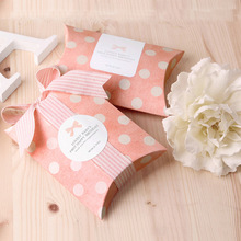 10 шт., 20 шт., 50 шт., 100 шт., розовая коробка в горошек, бумажная подушка для творчества, свадебные подарочные коробки, вечерние коробки для пирога, экологичные крафт-пакеты