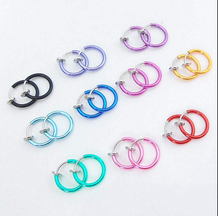 HTB1OI5gJFXXXXc_XXXXq6xXFXXXw 3-in-1 Two Pieces Clip On Hoop Nose Lip Ear Rings - 10 Colors
