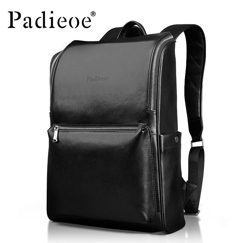 Padieoe Luxury Genuine Cow Leather Men's Travel Backpack Fashion Square Design Men's Laptop Bag Casual Men's School Backpack