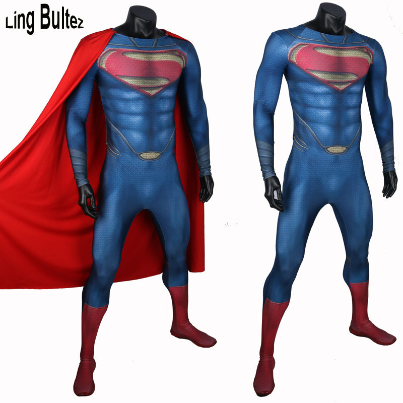 Ling Bultez High Quality Muscle Shade Superman Costume Adult 3D Print Man of Steel Lycra Suit Movie Superman Spandex Suit