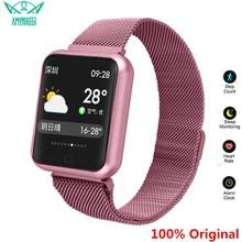 AMYNIKEER reloj inteligente deportivo P68, deportivo, resistente al agua, con control del ritmo cardíaco, para hombre y mujer