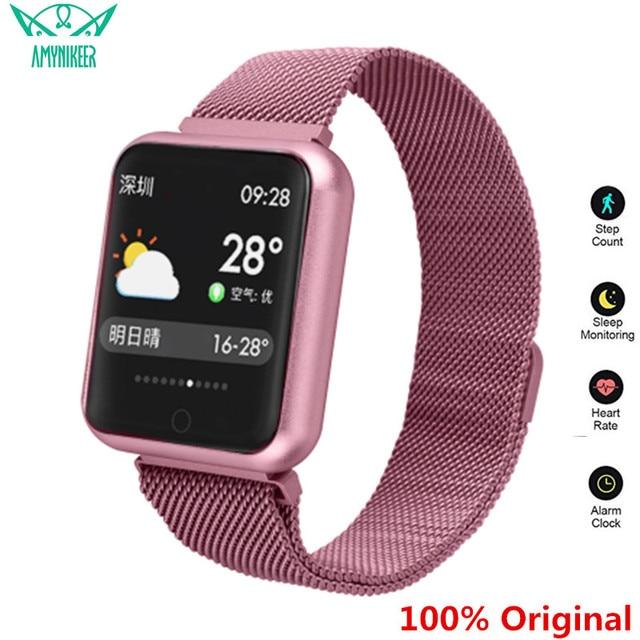 AMYNIKEER sporting waren uhr P68 smart watch IP68 WASSERDICHTE fitness armband tracker heart rate monitor männer frauen smart watch