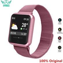Amynikeer esportes bens relógio p68 relógio inteligente ip68 à prova dip68 água pulseira de fitness rastreador monitor de freqüência cardíaca das mulheres dos homens relógio inteligente