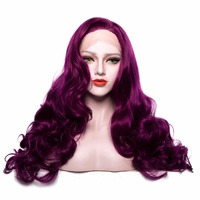 Synthetic Lace Front Wigs Long Body Wave Long Pure Color Purple Wigs for Women Natural Hairline Artificial Hair Wigs