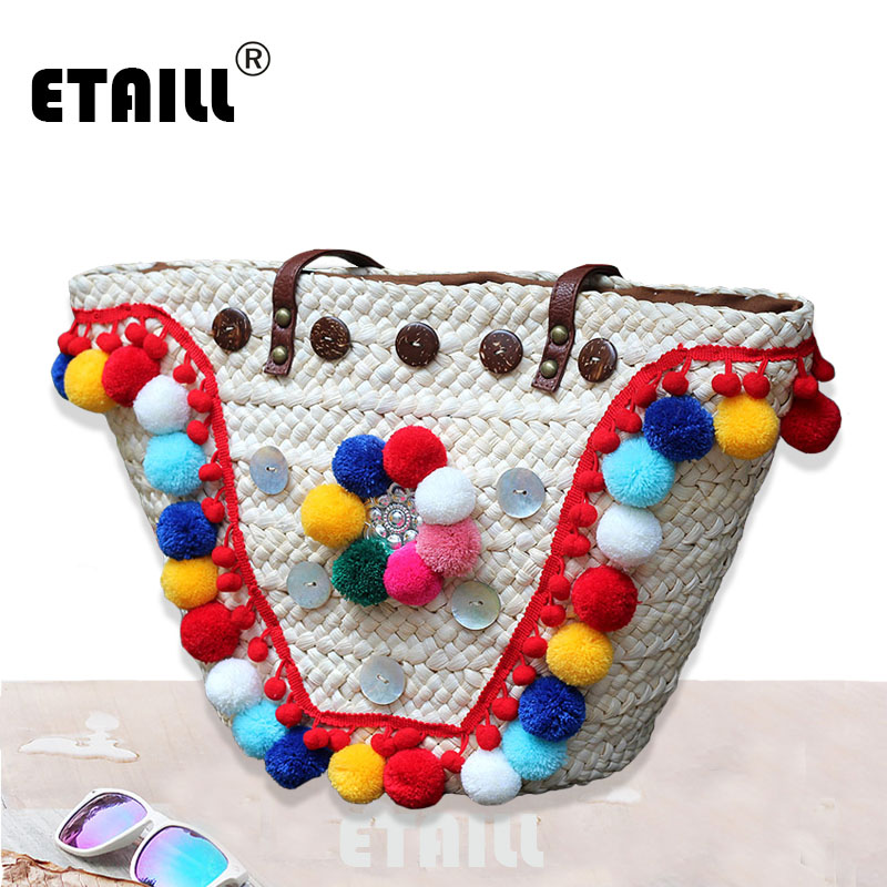 Colorful Pompon Women Summer Weave Straw Beach Shoulder Bag Brand Famous Thailand Woven Casual Handbags Knitting Rattan Bags handmade flower appliques straw woven bulk bags trendy summer styles beach travel tote bags women beatiful handbags