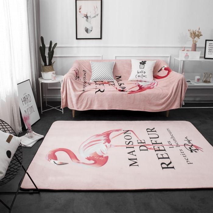 140*190cm nordique Cartoon Flamingo Patttern tapis maison Textile tapis de sol rembourré canapé tapis salon anti-dérapant