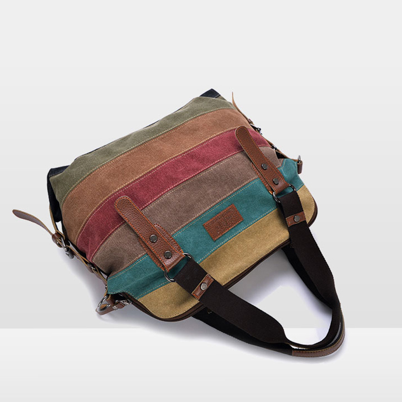 Canvas Bag Tote Striped Women Handbags Patchwork Women Shoulder Bag New Fashion Sac a Main Femme De Marque Casual Bolsos Mujer aosbos fashion portable insulated canvas lunch bag thermal food picnic lunch bags for women kids men cooler lunch box bag tote