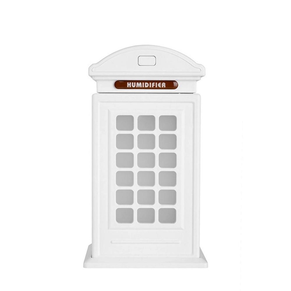 300ml Telephone Booth Air Humidifier essential oil diffuser humidificador difusor de aroma USB 5V with colorful LED night light 400 ml esencial aceite de grano de madera del difusor con cromado superior ultrasonico del aroma humidificador de vapor frio par