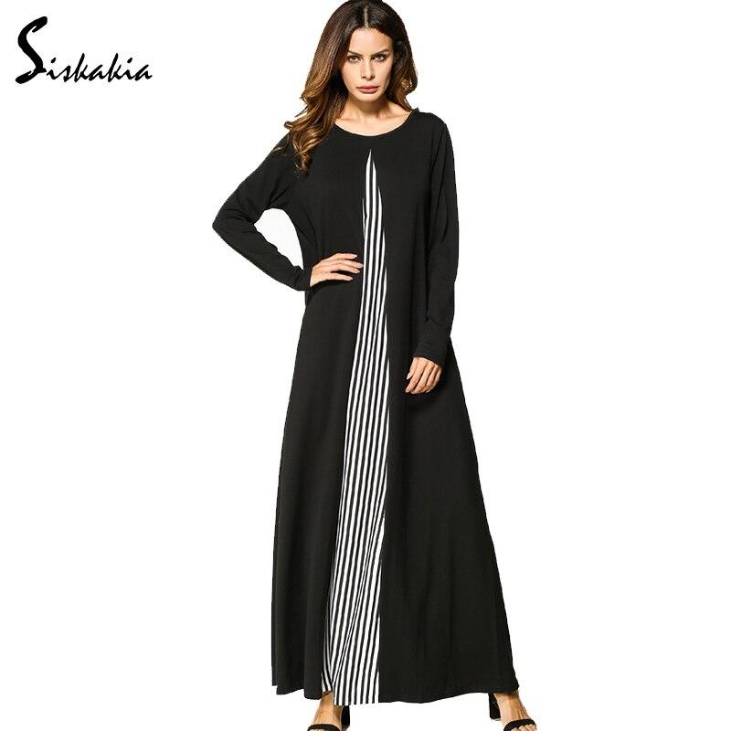 Siskakia lange mouw ronde hals A line Maxi lange jurk voor dames gestreepte panelen patchwork ontwerp Herfst Winter casual jurken