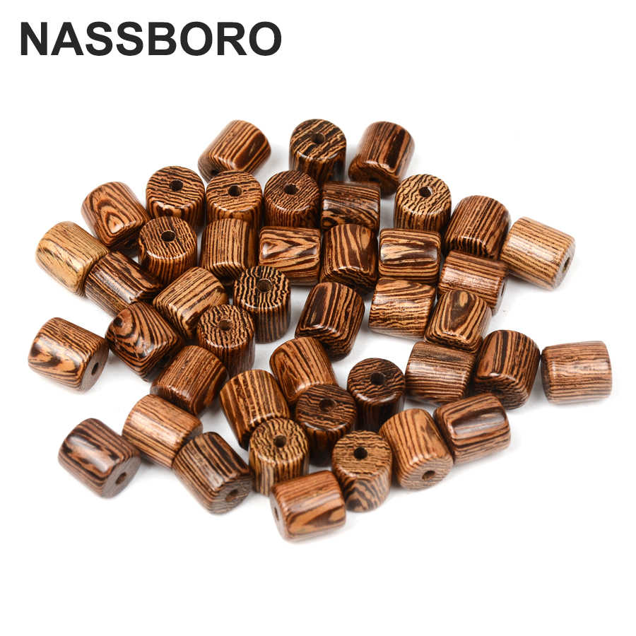 8mm Cylinder Wood Beads Round Wenge Wooden For Jewelry