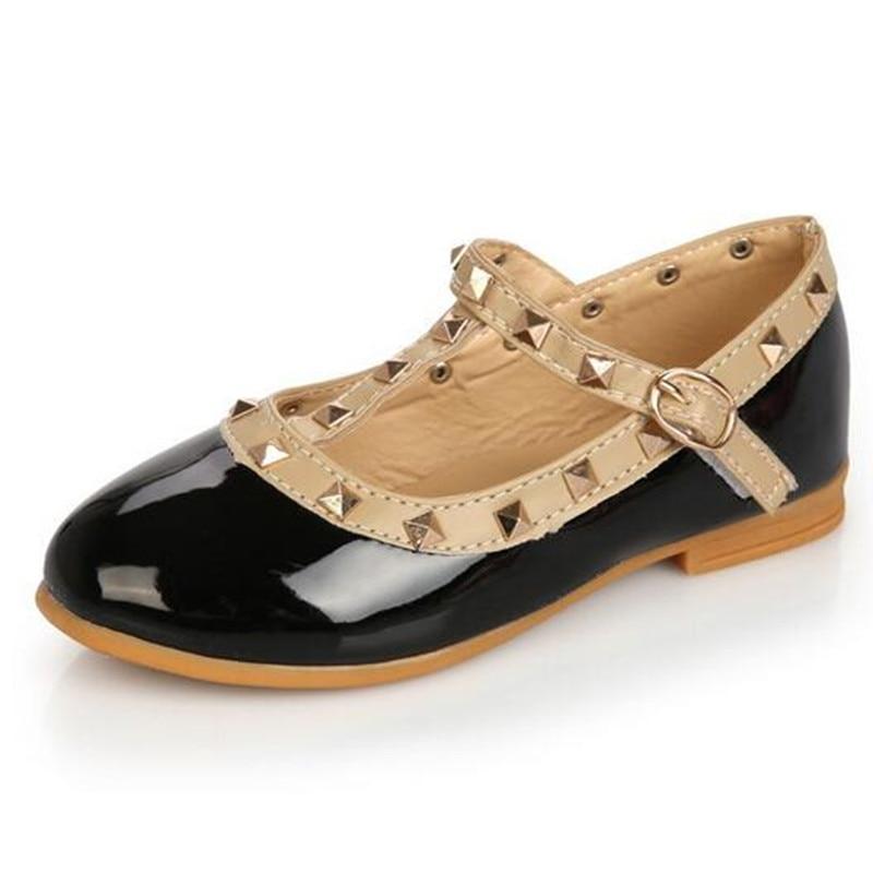Keling PU Sepatu Kulit Untuk Anak Perempuan Flat Anak-anak Putri Sepatu Bayi Anak Sepatu Kasual Hitam Merah