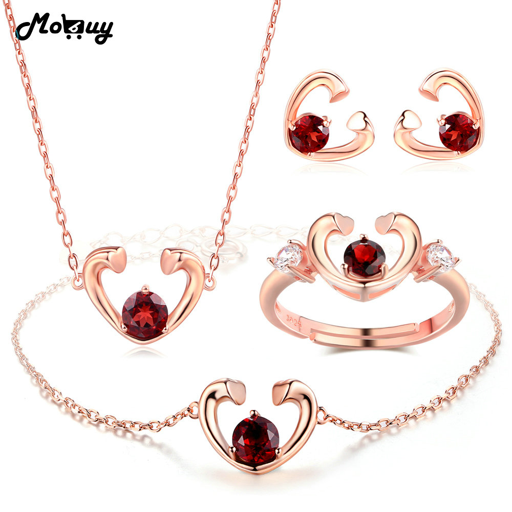 MoBuy Garnet Natural Gemstone 4pcs Jewelry Sets 100% 925 Sterling Silver For Women Wedding Love Heart Fine Jewelry V015EHNRMoBuy Garnet Natural Gemstone 4pcs Jewelry Sets 100% 925 Sterling Silver For Women Wedding Love Heart Fine Jewelry V015EHNR