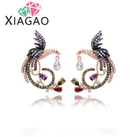 XIAGAO New Arrival Phoenix Bird Multicolor Tiny Cubic Zirconia Paved Gold Plated Stud Earring For Women
