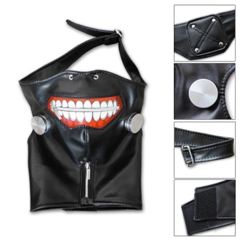 New Styles Tokyo Ghoul 2 Kaneki Ken Mask Adjustable Zipper Masks PU Leather Cool Mask Blinder Anime Cosplay