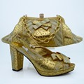 Matching Shoes And Bags Italy With Rhinestones Heel African Shoe And Bag Set New Design Italian Shoe With Bag Gold Color CP63008