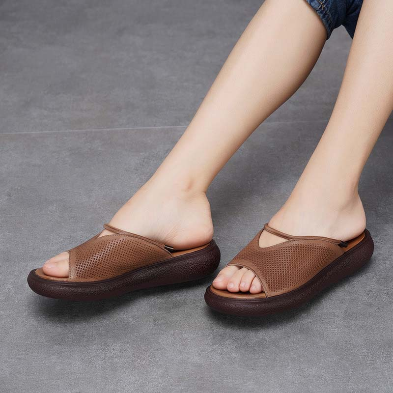 Genuine Leather Shoes Flower Slippers