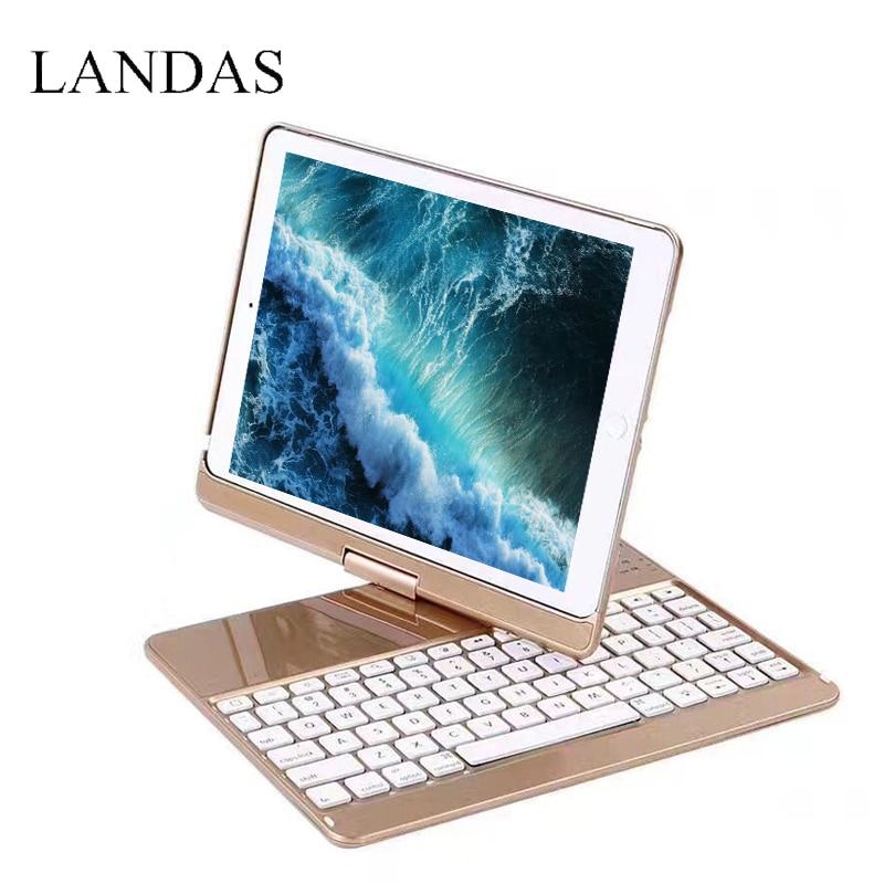 Landas Bluetooth Keyboard For iPad Pro 9.7 Case 2018 360 Rotation Backlit Wireless Keyboard For iPad Pro 9.7 Air 1 Case Cover цены онлайн