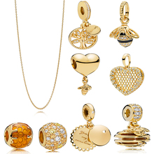 New 100% 925 silver Charm Golden SHINE Bee&Honey Sunshine Necklace Pendant Charm Fit Original pandora Bracelet Bead DIY Jewelry