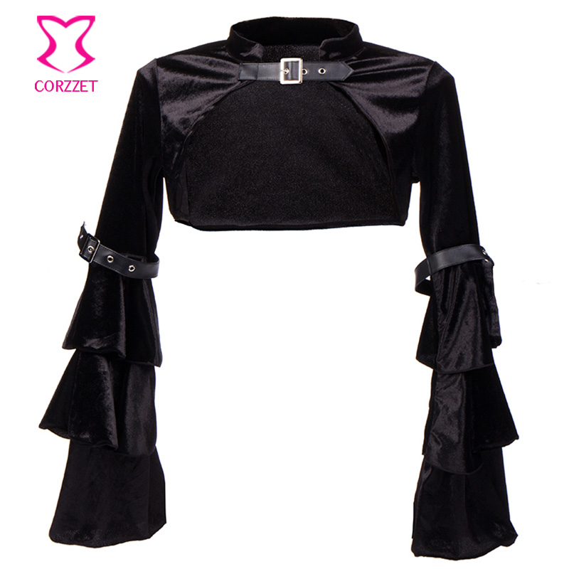 Black Velvet Butterfly Sleeve Buckle Belt Gothic Bolero jacket Sexy Corsets And Bustiers Steampunk Corset Accessories Plus Size
