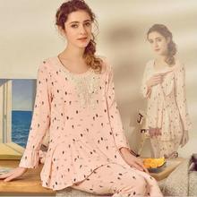 Материнство пижамы Уход Ночная рубашка корейский Модальные моды Pyjama Femme Enceinte кормящие пижамы Беременность пижамы установить A274
