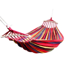 Dubbele Hangmat 450 Lbs Draagbare Reizen Camping Opknoping Hangmat Swing Luie Stoel Canvas Hangmatten (Rood)
