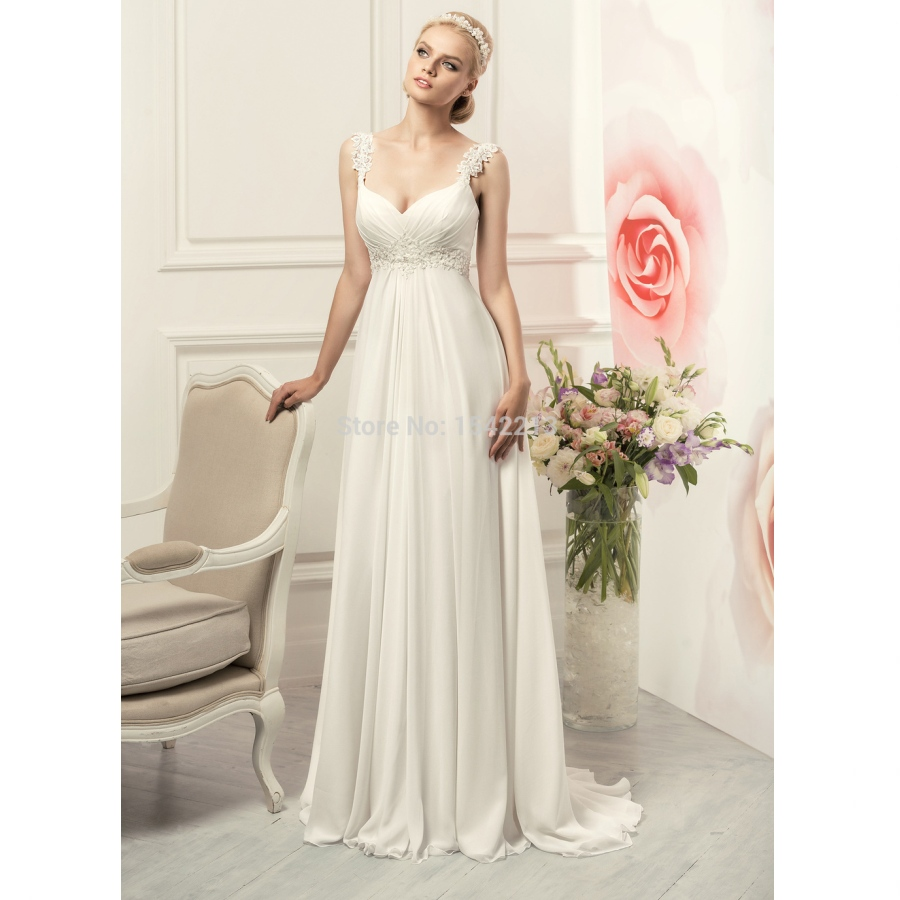 Spaghetti Strap Ivory Empire Maternity Wedding Dresses Chiffon V ...
