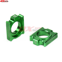 CNC Billet Axle Block Chain Adjuster For KX125 250 KX250 450F KLX450R Dirt Bike MX Motocross Off Road Motorcycle Free shipping