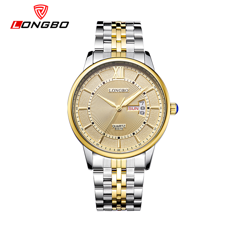 LONGBO Men and Women Stainless Steel Watches Luxury Brand Quartz Wrist Watches Date Business Lover Couple 30m Waterproof Watches new arrival longbo 5072 fashion women men quartz watch stainless steel mesh band simple wrist wacthes for lover luxury top brand