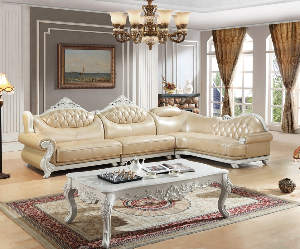Exceptional American Leather Sofa Set Living Room Sofa China Wooden Frame L Shape  Corner Sofa Beige(
