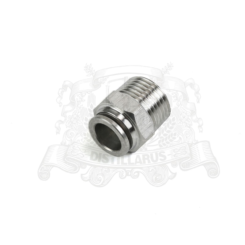 Push Connect Male - 1/2. Hose diameter 12mm, Stainless Steel 304.