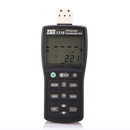 Measuring Range -200c-800c TES-1318 Platinum RTD Dual Input Thermometer