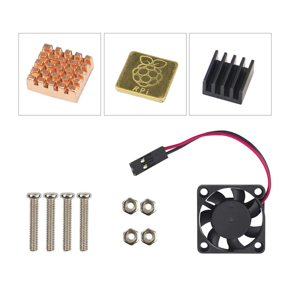 Raspberry Pi 5V Cooling Fan With Screws + Heat Sink 1 Aluminum With 2 Copper For Raspberry Pi 3 / Pi 2 Model B RPI B+