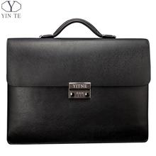 YINTE Men's Leather Black Briefcas Big And Thicker Business Handbag Laptop Messenger Document Bag Lawyer Case PortfolioT8191-6