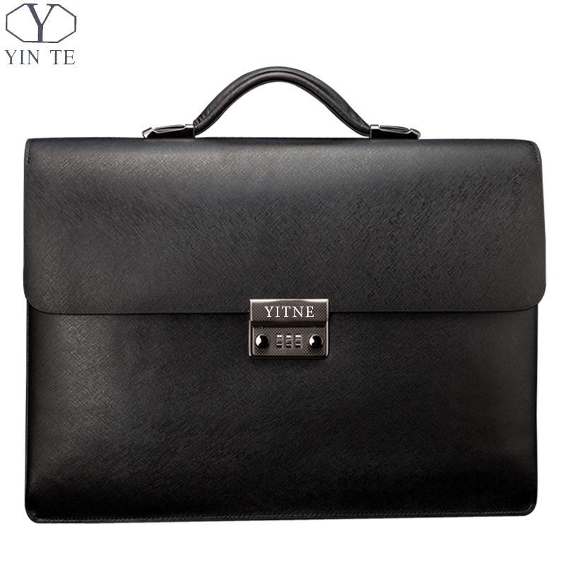 YINTE Mens Leather Black Briefcas Big And Thicker Business Handbag Laptop Messenger Document Bag Lawyer Case PortfolioT8191-6