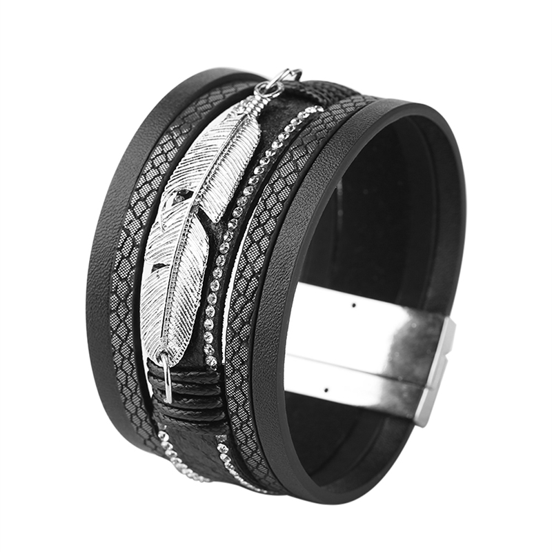 Fashion Alloy Feather Shape Bracelets Men Wide Cuff Bracelets Multilayer Leather Rhinestone Bracelet Punk Women Bangle Jewelry