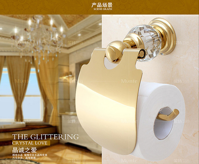 High Quality Luxury Crystal Decoration Gold Brass Toilet Paper Holders Waterproof Tissue Bathroom Sanitary Banheiro Accessories