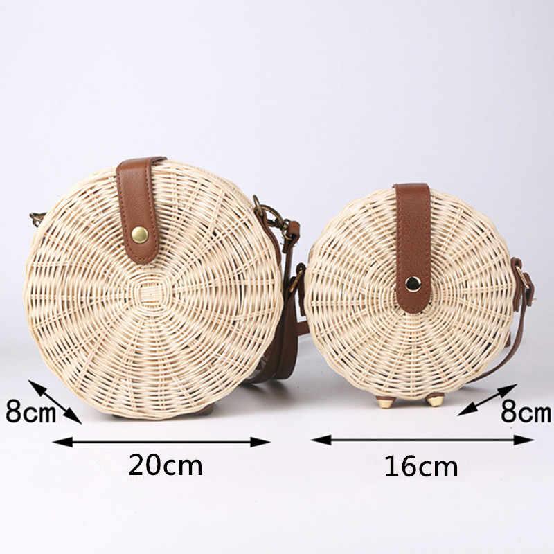 Для женщин Винтаж пляжная соломенная сумка 2019 дамы ручной тканый ротанг сумка Лето Бали чешские Crossbody сумка