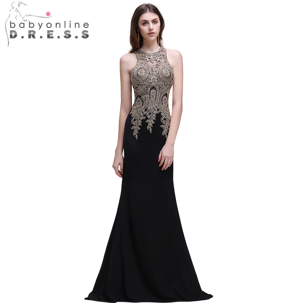 Babyonline Robe De Soiree Mermaid   Prom     Dresses   2019 Gold Lace Applique Sexy Sheer Back Floor Length Formal Evening   Dress