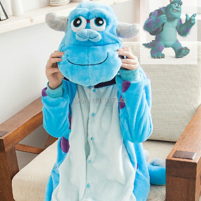 Monsters University James P. Sullivan Onesies Pajamas Jumpsuit Hoodies Adults Cosplay Kigurumi Costumes