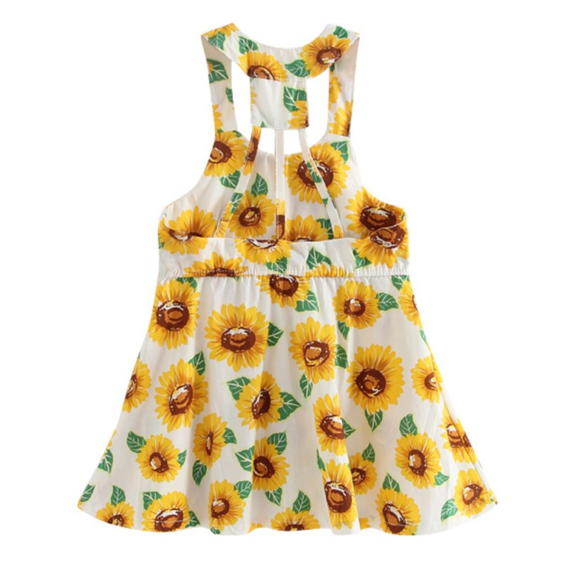 0a27d30dc57 2018 Summer Baby Girls Cute Dress Kids Sunflower Printing Sleeveless  Dresses New arrival Fashion Suitable Clothing -in Dresses from Mother   Kids  on ...