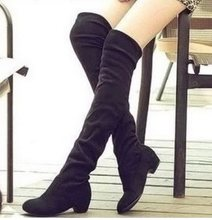 2016 Brand new Hot Women Boots Autumn Winter Ladies Fashion Flat Bottom Boots Shoes Over The Knee Thigh High Suede Long Boots(China)